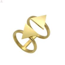 Abrir manguito simples ouro duplo dois anel de forma de triângulo