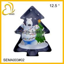 new design 12.5 inch tree shape christmas cheap melamine plate