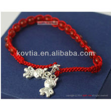Vente en gros pendentif en argent bijoux bracelet à cordes tressées rouge