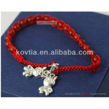 Atacado de prata pingente de jóias vermelhas frisado bracelete de corda trançada