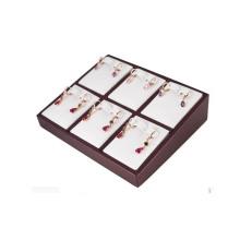 La PU blanca de moda 6 pares dividió la bandeja de la joyería de la caja del pendiente (ES-6TYW)