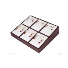 Fashionable White PU 6 Pairs Divided Earring Box Jewelry Tray (ES-6TYW)