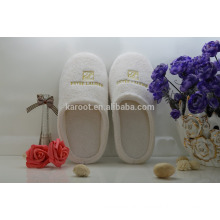 cheap soft colar fleece personalized close toe chinese custom embroidered hotel slipper