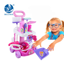 New Product Pretend Play Kids Cleaning Set Plastic Toy Cleaning Trolley with Vacuum Cleaner Toy