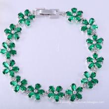 Green stone flower cubic zirconia brass bracelets christmas gift