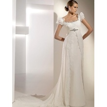 Empire Sheath Column Square Neck Short Sleeves Cathedral Train Chiffon Lace Ribbons Wedding Dress