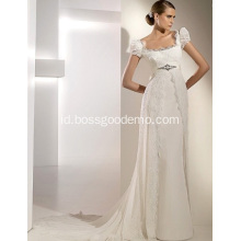 Empire Cathedral Train Chiffon Lace Pita Wedding Dress1