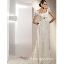 Empire Cathedral Train Chiffon Lace Ribbon Wedding Dress1