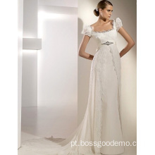Empire Cathedral Train Chiffon Lace Ribbons Wedding Dress 1