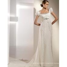 Empire Sheath Column Square Neck Short Sleeves Cathedral Train Chiffon Lace Ribbons Wedding Dress