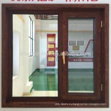 Алюминиевые распашные окна с терморазрывом коричневого цвета с противомоскитными сетками