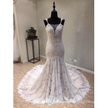 Мода Кружева Бисером Русалка Вечерние Платья Свадебное Платье Свадебное Платье