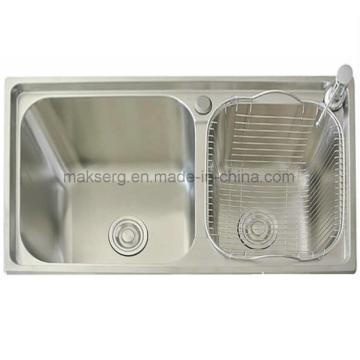 Stainless steel kitchen sink in the restaurant