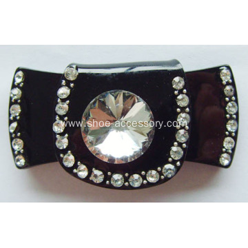 Plastic Shoe Buckle with Clear Glass Stone