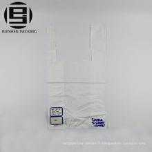 Sacs d'emballage de t-shirt en plastique blanc fait sur commande de couleur