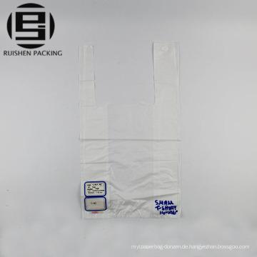 Benutzerdefinierte weiße Farbe Kunststoff T-Shirt Verpackung Taschen