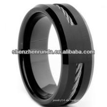Anillo de la Copa Mundial de 2014 hombres plateados anillo de alambre negro anillo de tungsteno anillo de 8 mm de China fabricante