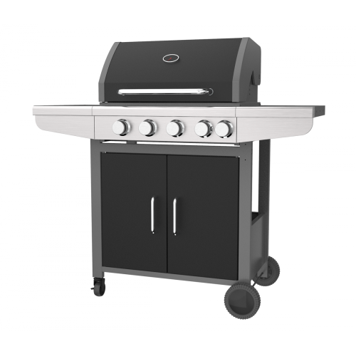 4 & 1 Brenner Black Gas Barbecue Grill