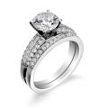 Anel de noivado com banda de casamento em jóias de prata esterlina 925