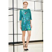 Neues modisches drei Viertel-Ärmel-Placement-Shift-Kleid im Blumenmuster