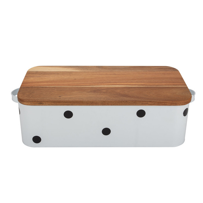 Cute rectangular bread storage box with double handles