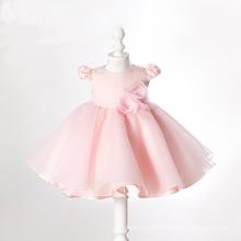 Pink Organza Ball Flower Baby Little Girl Gowns Qh66233