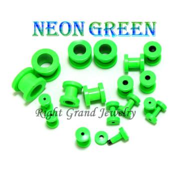 2014 nouveau néon vert anodisé vis oreille personnalisé Flesh Tunnel