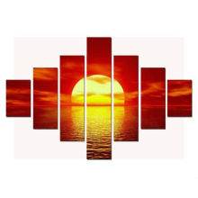 7 Stück Sonnenuntergang über Seas Fotos Gemälde auf gerahmter Leinwand ART