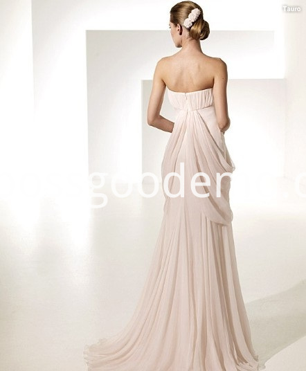 Empire Sheath Column Sweetheart Chapel Train Chiffon Draped Ruffled Wedding Dress