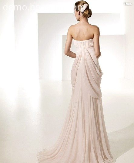 Empire Sheath Column Sweetheart Chapel Train Chiffon Draped Ruffled Wedding Dress
