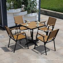 Outdoor garden furniture plastic wood aluminum frame dining set wood furniture