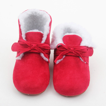 Hot Red Baby Baby Leather Winter Boots Wholesale