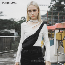 PUNK RAVE lady mesh waist bag crossbody casual dark series one shoulder bag