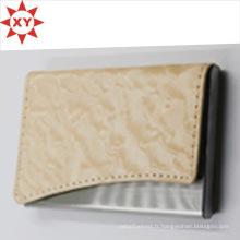 Porte-cartes de visite promotionnel en cuir de couleur crème