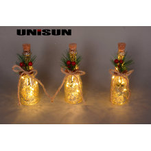 Décoration de Noël Verrerie en verre avec cordon en cuivre LED pour éclairage mural (17010)