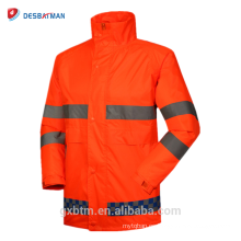 Chaqueta a prueba de lluvia anaranjada fluorescente, trajes reflectantes impermeables de la lluvia de la seguridad de la alta visibilidad de la seguridad en carretera