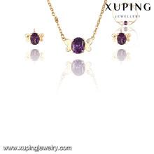63843 moda elegante bonito 18k banhado a ouro cz diamante imitação jóias conjunto para festa de casamento