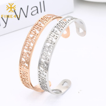Personality Customizable Hollow Heart Rose Gold Love Stainless Steel Cuff Bracelet