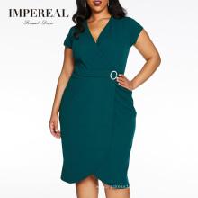 Curve Green Wrap Buckle Midi Fashion Plus Size Summer XXXL Size Dress
