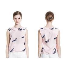 Summer Sleeveless Eyelashes Pattern Round Neck Ladies Shirt