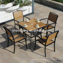 Whole sale outdoor furniture plastic wood aluminum frame 4 seater table set coffee table and chair