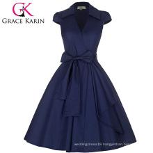 Grace Karin Cap Sleeve Lapel Collar V-Neck Retro Vintage High-Stretchy Party Navy blue Dress CL008953-5