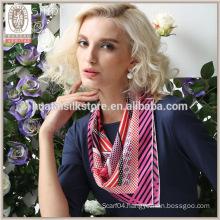 Cute Rose Stripes and polka dot design twill silk scarf stewardess