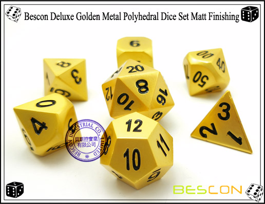 Bescon Deluxe Golden Metal Polyhedral Dice Set Matt Finishing-5