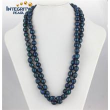 Collier en perles d'eau douce à la main 11-12mm Collier perle de riz à la longue et bleue