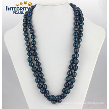 Fashion Freshwater Pearl Necklace 11-12mm Peacock Blue Long Rice Pearl Necklace