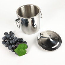 Double Walled Stainless Steel Ice Bucket with Drain and Handle