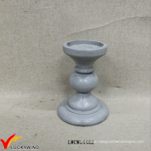 Short Beach Style Antique Pillar Candle Holders Wood