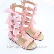 Chaussures de gladiateur rose bowknot