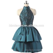 Usine d'approvisionnement pas cher prix robe de soirée perlée courte conception vert couleur licou femmes robe de soirée en gros